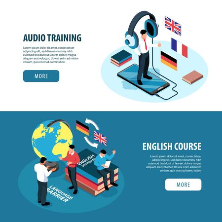 Set of two isometric language training center hotizontal banners with images of books flags and people vector illustration Stock Illustratie