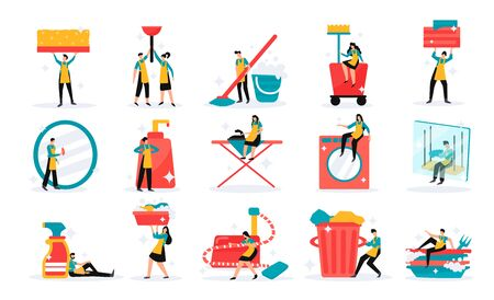 Professional home and industrial cleaning service team tools detergents duties flat funny icons set isolated vector illustration