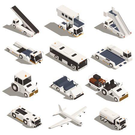 Ensemble de voitures d'aéroport isométriques isolées avec des véhicules de tourisme, des camions et des avions d'escaliers sur fond blanc illustration vectorielle