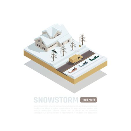 Isometric colored natural disaster composition with snowstorm and snow covered roads and houses vector illustration Illustration