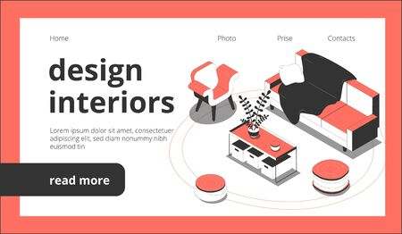 Design of interiors web page isometric landing website background with clickable links buttons and furniture images vector illustration Illustration