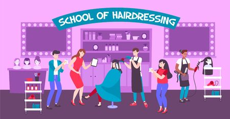 School of hairdressing horizontal illustration with students receiving practical competence from masters in barbershop