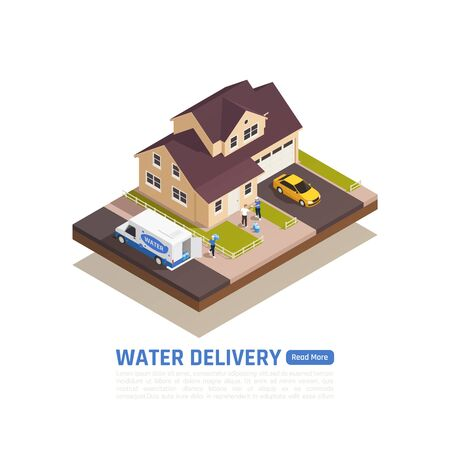 Water delivery isometric background with outdoor view of private house with people cars and delivery van vector illustration