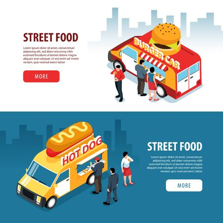 Isometric street food banners set with cityscape backgrounds human characters and food truck vans with text vector illustration