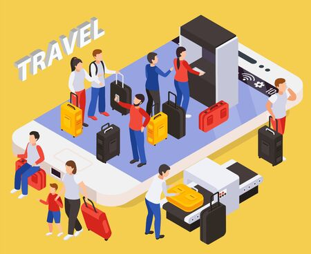 Traveling people concept with smartphone and luggage symbols isometric  vector illustartion  イラスト・ベクター素材