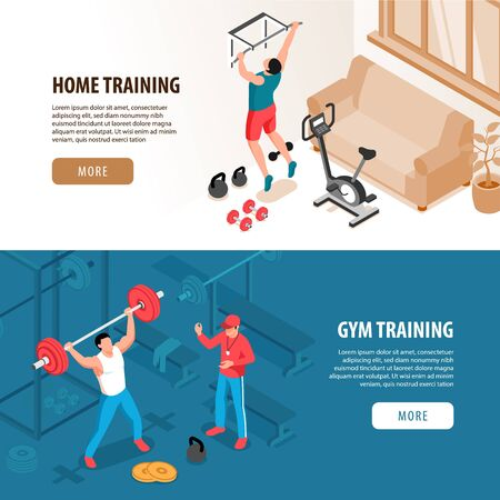 Set of two isolated isometric fitness sport banners with domestic and gymnasium views people and text vector illustration