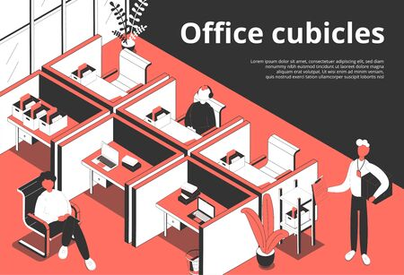 Office cubicles isometric background with editable text and composition of human characters and separated working places vector illustration
