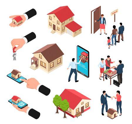 Conjunto de iconos isométricos de bienes raíces de manos humanas de edificios aislados con llaves de casas teléfonos inteligentes y personas ilustración vectorial Ilustración de vector