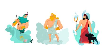 Cartoon greek gods poseidon zeus and hades isolated vector illustration