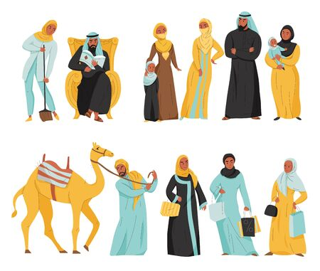 Flat and isolated arabs icon set women in hijab and arabic men with camel vector illustration Иллюстрация