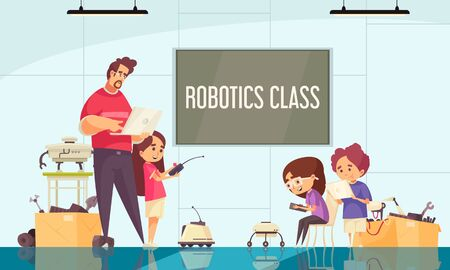 Robotics class cartoon composition with teacher demonstrating motion control of drones and robots vector illustration