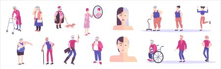 Aging people flat set with isolated human characters on blank background with young and elderly people vector illustration