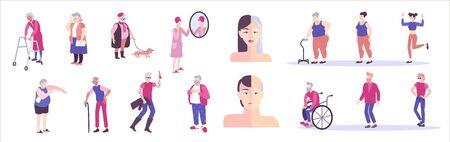 Set piatto di persone anziane con personaggi umani isolati su sfondo bianco con illustrazione vettoriale di giovani e anziani Vettoriali