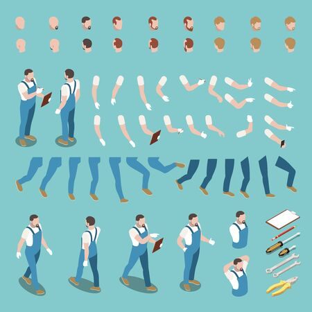 Isometric character constructor set with male heads arms legs bodies uniform and instruments isolated on blue background 3d vector illustration