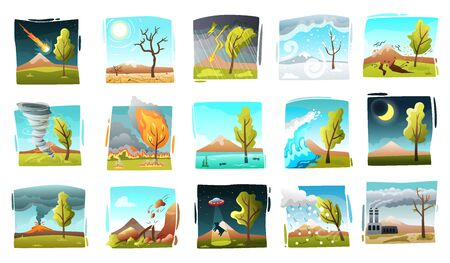 Natural disaster set of isolated drawn style square compositions with wild landscapes and forces of nature vector illustration