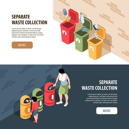 Set of two horizontal isometric garbage waste recycling banners with editable text more button and people vector illustration