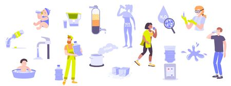 Set with isolated drinking water flat human characters with bottles and glasses of pure drinking water vector illustration