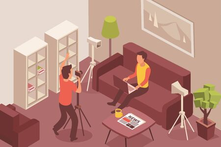 Blogger isometric composition with domestic environment furniture and video blog shooting process with faceless human characters vector illustration Illustration