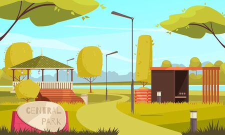 Summer empty city park landscape flat composition with gazebo walkers runners path lanterns trees benches vector illustration Çizim