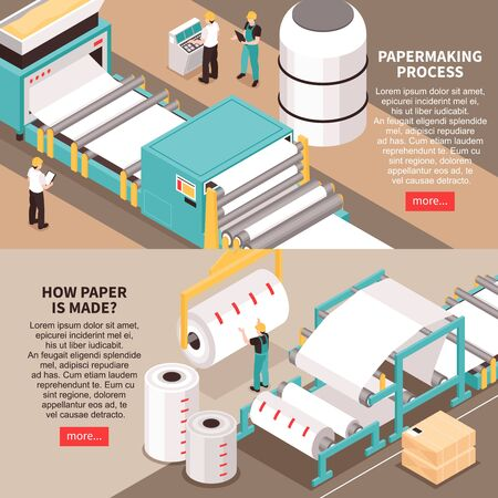 Papermaking material manufacture process 2 horizontal isometric web banners with sheet forming machine info text vector illustration Ilustração