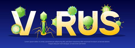 Virus golden text lettering decorated with viral infectious agents green symbols dark blue horizontal banner vector illustration