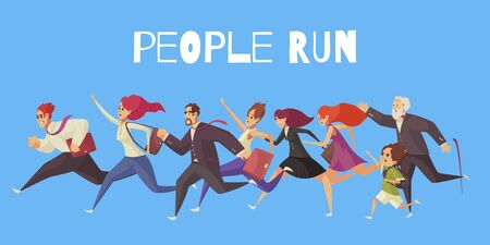 People run blue background with group of cartoon characters who late for work or sale vector illustration