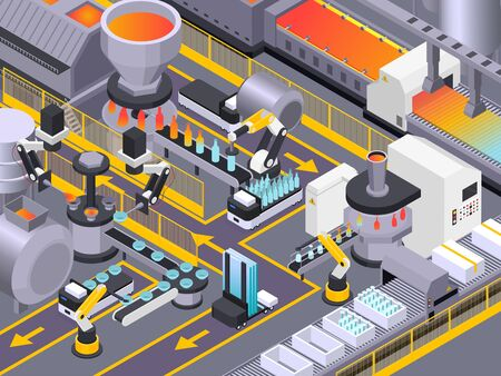 Glass production isometric composition with industrial scenery and automatic conveyors of production machines with raw materials vector illustration Иллюстрация