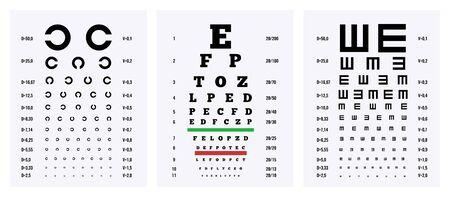 Sehtestdiagramme 3 medizinische realistische herunterladbare Poster zur Prüfung der visuellen Aktivität isolierte Vektorillustration Vektorgrafik