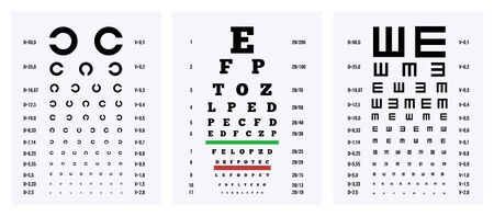 Eye test charts 3 medical realistic downloadable posters set to exam measure visual activity isolated vector illustration