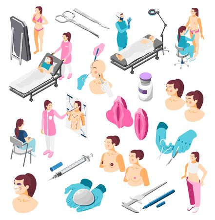 Plastic surgery icons set with medical instruments doctors and people before and after operation 3d isometric isolated vector illustration Ilustração