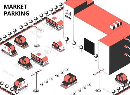 Marktparkeren isometrische compositie met tekst en buitenaanzicht van supermarktgebouw en aangrenzende parkeerplaats vectorillustratie