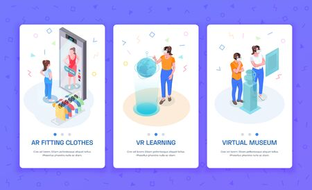 Virtual augmented reality 3 isometric vertical banners with ar trying on clothes learning vr museum vector illustration