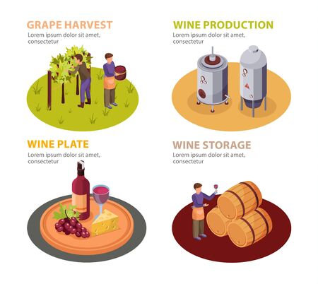 Wine production concept icons set with wine plate and storage symbols isometric isolated vector illustration