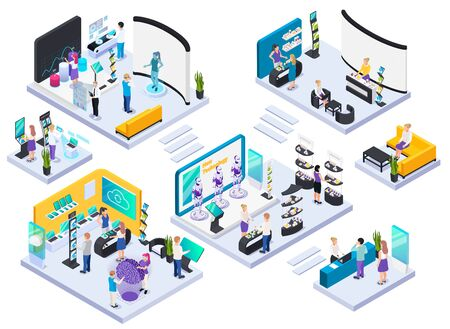 Modern technical electronic innovative production exhibition halls concept isometric composition with demonstration and promotion stands vector illustration Illustration