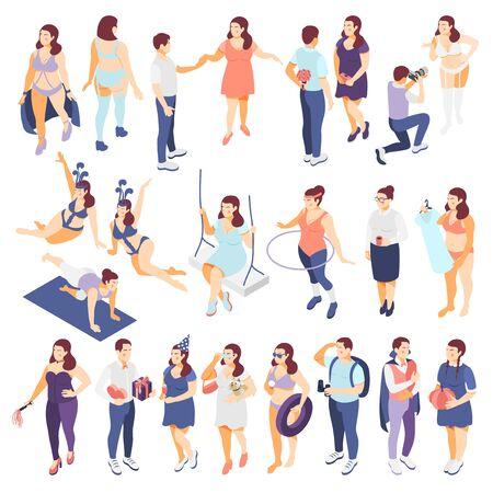 Large people buying plus size fashion clothes swimming suits beachwear modelling dating isometric icons set vector illustration Ilustração