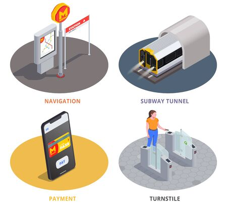 Colored 2x2 design concept with subway tunnel navigation online payment and woman going through turnstile 3d isometric isolated vector illustration Ilustração