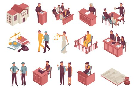 Justice isometric icons set of jury defendant advocate witness policemen spectators characters isolated vector illustration