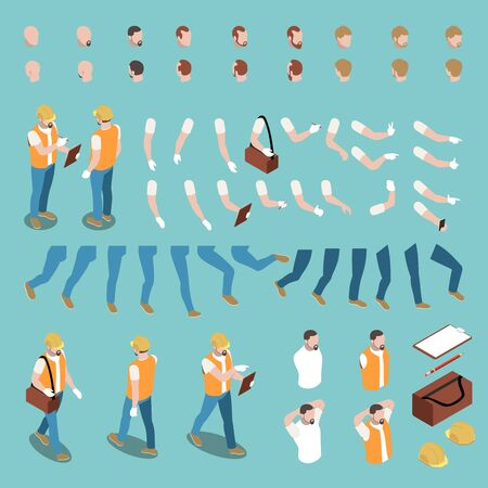 Male builder character constructor with uniform hand gestures legs hair 3d isometric isolated vector illustration Ilustrace