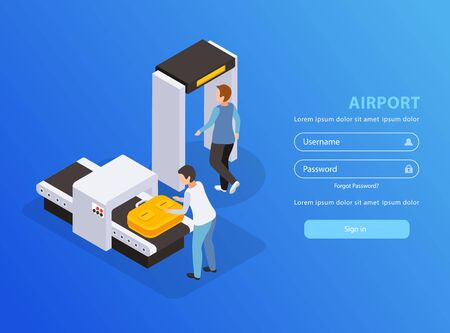 Airport mobile application with traveling and tourism symbols isometric vector illustartion