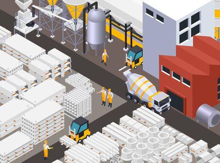 Composición de la producción de cemento de hormigón con camiones mezcladores de edificios de fábrica y mercancías de hormigón cargadas por trabajadores ilustración vectorial