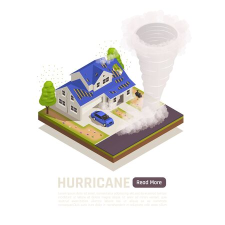 Colored isometric natural disaster composition with hurricane description and read more button vector illustration