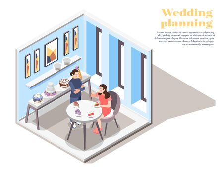 Wedding planning isometric composition with young woman tasting different cakes for wedding menu in sweet shop vector illustration