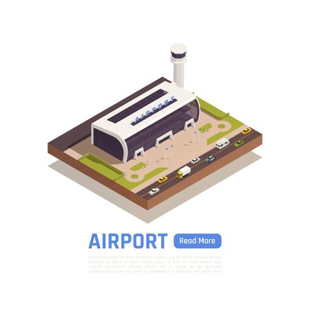 Airport isometric background with text read more button and round composition with road and terminal building vector illustration Illustration