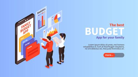 Family budget income distribution planning app info isometric horizontal landing page banner with smartphone screen vector illustration