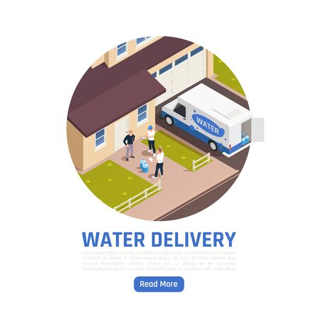 Water delivery isometric background with editable text read more button people and delivery van near living house vector illustration