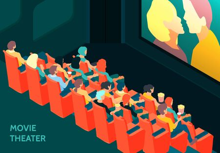 Audience in cinema hall watching scene with kissing couple 3d isometric vector illustration