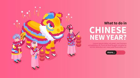 Chinese new year horizontal banner with people in national clothes and big dragon costume isometric vector illustration