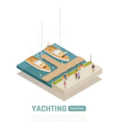 Colored and isometric yachting composition with two boats moored at the wharf vector illustration Illustration