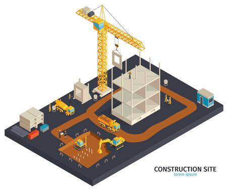 Isometric construction composition with platform and building yard ground area tower cranes trucks and human characters vector illustration
