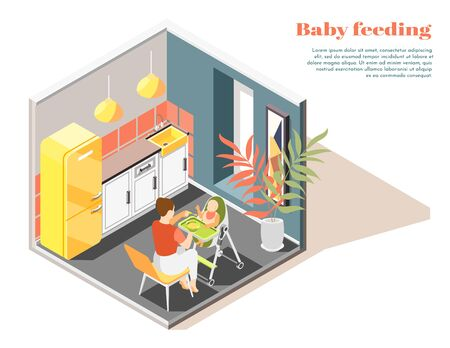 Infant care isometric composition with mother feeding baby sitting in convertible high chair in kitchen vector illustration Çizim